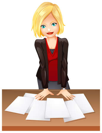 founder: Illustration of a woman in the office on a white background