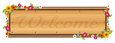 signboard: Illustration of a wooden signboard with a welcome sign on a white background Illustration