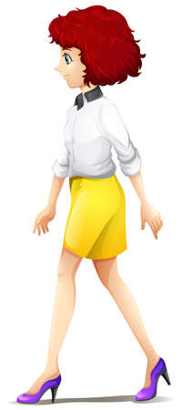Illustration of a fashionable woman walking on a white background
