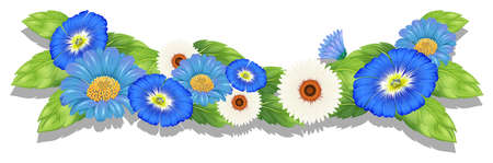 Illustration of the blooming flowers on a white background Illustration