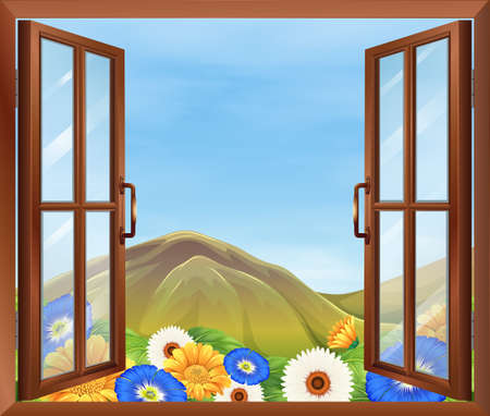 opened eye: Illustration of a window with fresh flowers outside