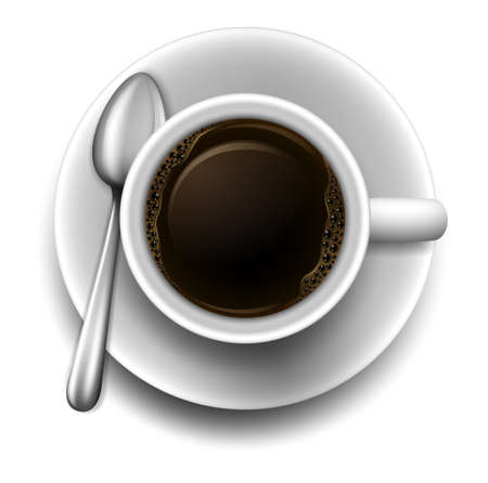 Illustration of a topview of a cup of coffee on a white background Vector
