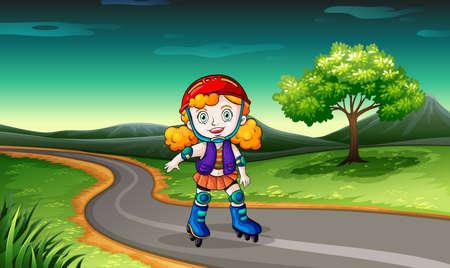 rollerskating: Illustration of a girl rollerskating in the street