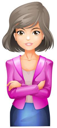 businesswoman skirt: Illustration of a lady with a pink blazer on a white background