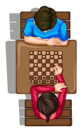 Illustration of a topview of two people playing a boardgame on a white background Vector