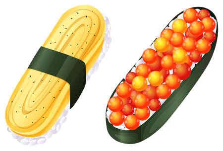 reis gekocht: Illustration einer Luftaufnahme des Sushi auf einem wei�en Hintergrund Illustration