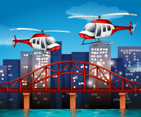 anchored: Illustration of the helicopters near the bridge