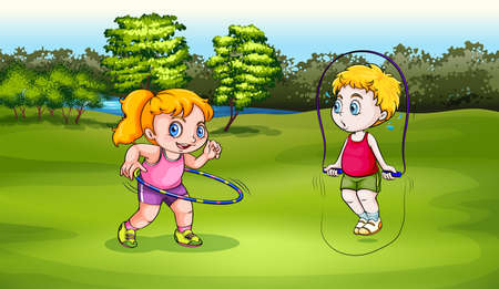 Illustration of a boy and a girl playing Vector