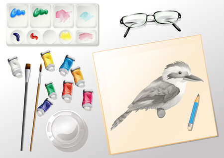 particulate: Illustration of the materials used when painting on a white background Illustration