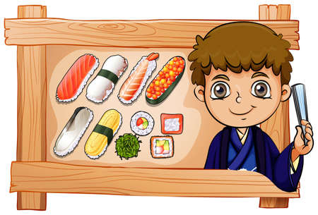 reis gekocht: Illustration aus einem Rahmen mit einem Jungen neben dem k�stlichen Sushi auf einem wei�en Hintergrund Illustration