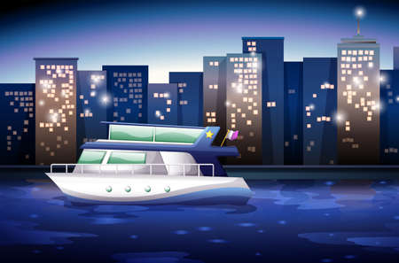 fueled: Illustration of a ship across the tall buildings Illustration