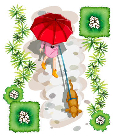 Illustration of a topview of a woman with a dog on a white background Illustration