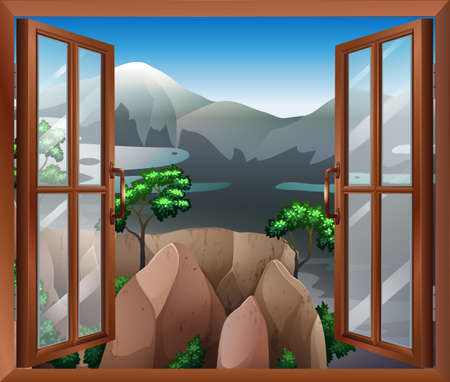 cliff edge: Illustration of an open window with a view of the cliff Illustration