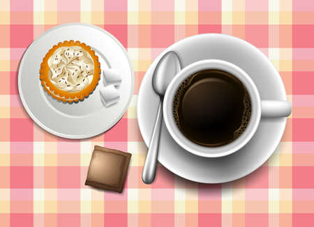 creamer: Illustration of a topview of a table with a coffee, a cookie and a creamer Illustration