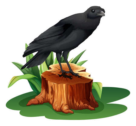Illustration of a bird above the stump on a white background Vector