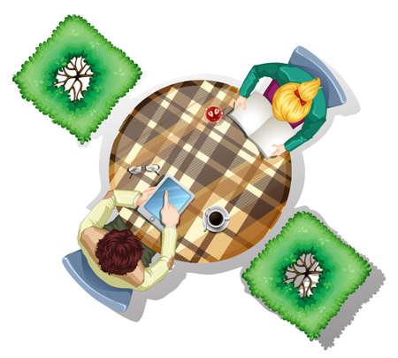 arbol de cafe: Ilustraci�n de una vista superior de las personas en la mesa con plantas sobre un fondo blanco