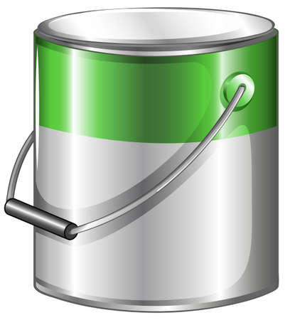 particulate matter: Illustration of a can of green paint on a white background