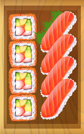 brown rice: Illustration of a topview of the different variants of sushi at the table