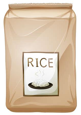 reis gekocht: Illustration eines Pakets von Reis auf wei�em Hintergrund Illustration