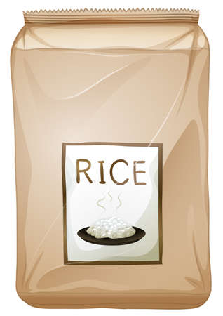 labelling: Illustration of a packet of rice on a white background
