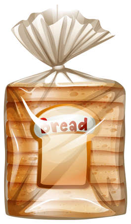 white bread: Illustration of a pack of sliced bread on a white background Illustration