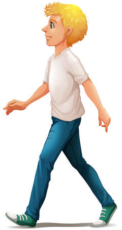 Illustration of a man in white shirt walking on a white background Vector