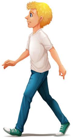 camicia bianca: Illustrazione di un uomo in camicia bianca che cammina su uno sfondo bianco Vettoriali