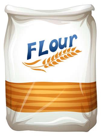 白い背景の上に小麦粉のパケットのイラスト