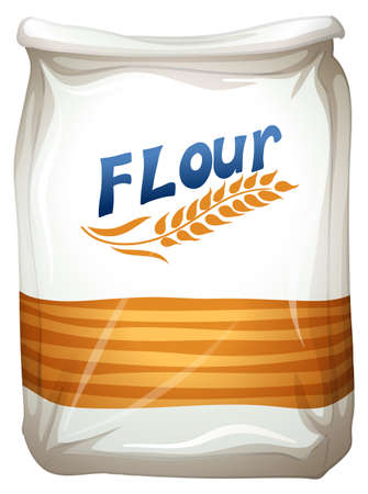 Illustration of a packet of flour on a white background