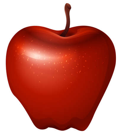 rosaceae: Illustration of a red crunchy apple on a white background