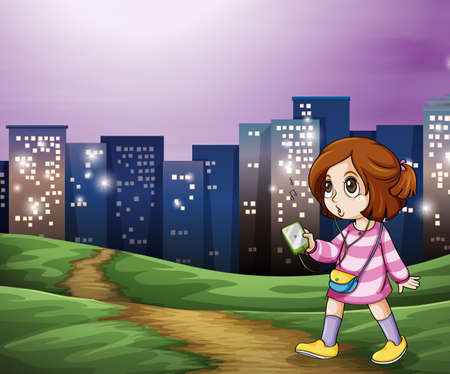 Illustration of a young girl walking across the tall buildings Vector