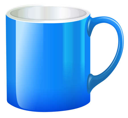 earthenware: Illustration of a blue mug on a white background