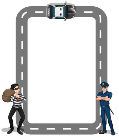 Illustration of a borderline with a thief and a policeman on a white background Illustration