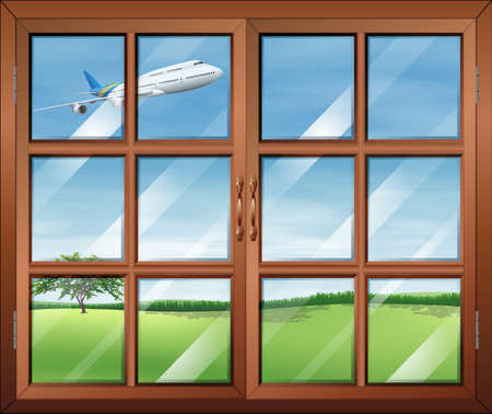 opened eye: Illustration of a window with a view of the airplane in the sky