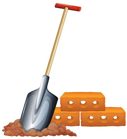 hem: Illustration of a shovel and bricks on a white background