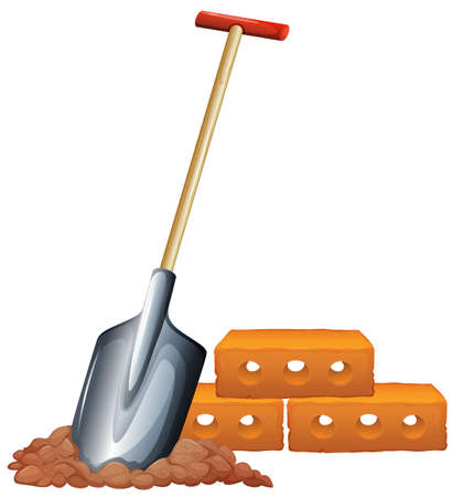 Illustration of a shovel and bricks on a white background