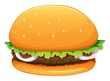 ground beef: Illustration of a big hamburger on a white background Illustration