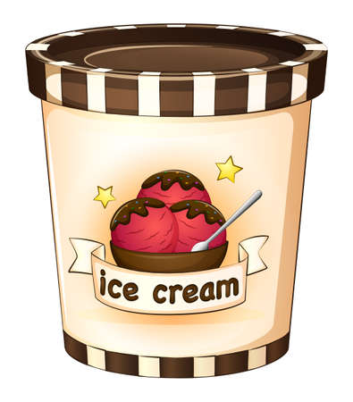 Illustration of the icecream inside the disposable cup on a white background Illustration