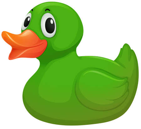 duckie: Illustration of a green rubber duck on a white background