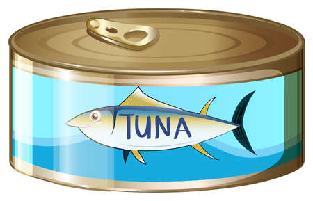 labelling: Illustration of a can of tuna on a white background