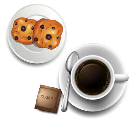 Illustration of a topview of a cup of coffee and a plate of cookies on a white background Vector