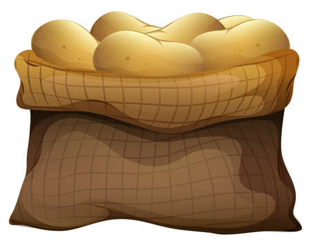 inexpensive: Illustration of a sack of potatoes on a white background