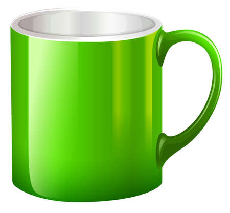 Illustration of a big green mug on a white background