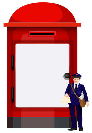 Illustration of a mailman beside the big mailbox on a white background