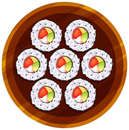 reis gekocht: Illustration einer Draufsicht auf die Sushi am Tisch auf einem wei�en Hintergrund