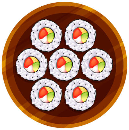 table top: Illustration of a topview of the sushi at the table on a white background Illustration