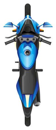 motorised: Illustration of a topview of a blue scooter on a white background