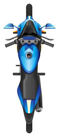 cenital: Ilustraci�n de una vista superior de un scooter azul sobre un fondo blanco Vectores