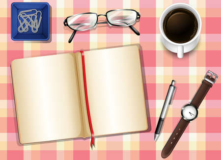 Illustration of a topview of a table with things Illustration