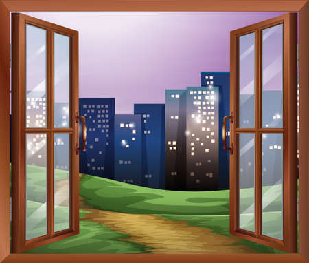 opened eye: Illustration of a window with a view of the tall buildings